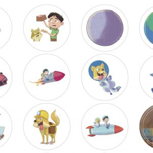 Toshi to the Moon Stickers